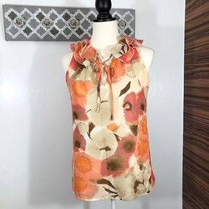 LOFT Blouse Ruffle Tie Neck Watercolor Floral, XS